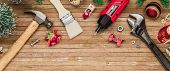 Merry Christmas And Happy New Years Handy Constrcution Tools Web Banner Background Concept. Handy Ho poster
