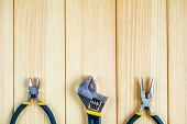 Tools For Master Builder And Accessories Set On Wooden Background For The Master Builder poster