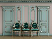 Classic Carver Chairs In Gold Andemerald Green In Classic Interior With Copy Space.pastel Green Wall poster