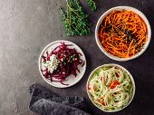 Ideas And Recipes For Healthy Salad - Spicy Sesame Carrot Noodles Salad, Raw Beetroot Noodles Wih Ri poster