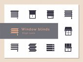 Vector Isolated Icons Set Of Window Blinds Vector Glyph Icons. Window Treatments And Curtains Glyph  poster