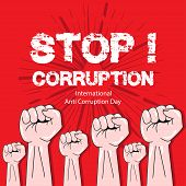 International Anti Corruption Day. Poster Concept. Red Background. poster