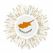 Cyprus Sign. Country Flag With Colorful Rays. Radiant Sunburst With Cyprus Flag. Vector Illustration poster