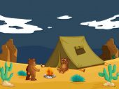stock photo of mating bears  - Two bears camping in desert  - JPG