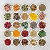 Herb and spice collection used for skin care for anti ageing and to help soothe and heal various ski poster