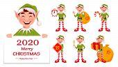 Merry Christmas. Funny Elf, Set Of Seven Poses. Santa Claus Helper Elf. Cartoon Character. Vector Il poster