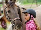 stock photo of feeding horse  - Horse and lovely girl  - JPG