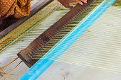 Thai Old Women Craftsman Making The Traditional Mats Weaving In The Old Traditional , Tradition Arti poster