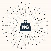 Grey Weight Icon Isolated On Beige Background. Kilogram Weight Block For Weight Lifting And Scale. M poster