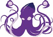 picture of kraken  - A menacing vector squid design showing all 8 arms and both tentacles - JPG