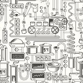 Vector Seamless Pattern On Industrial Theme With Various Production Equipment, Appliances, Devices,  poster