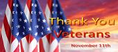 American flags in the sky. Veterans Day poster