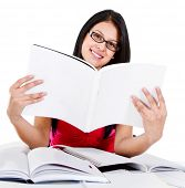 Geeky woman studying with books - isolated over a white background
