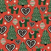 Christmas Folk Art Seamless Pattern. Repeating Background With Nordic Ornaments, Trees, Reindeer, He poster
