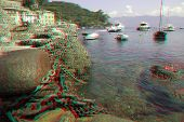 Ancient harbor remains in the bay of Portofino in Liguria, Italy (anaglyph stereoscopic image. Need