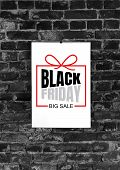 Black Friday Ad On Black Brick Wall Background Copyspace, Negative Space For Your Advertising. Black poster