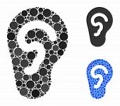 Ear Composition Of Small Circles In Various Sizes And Color Tints, Based On Ear Icon. Vector Random  poster