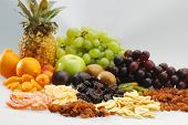 stock photo of dry fruit  - Different types of fresh and dried fruit - JPG