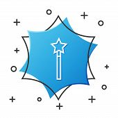 White Line Magic Wand Icon Isolated On White Background. Star Shape Magic Accessory. Magical Power.  poster