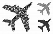 Aircraft Mosaic Of Bumpy Parts In Different Sizes And Color Tones, Based On Aircraft Icon. Vector Ru poster