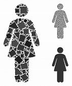 Woman Mosaic Of Joggly Pieces In Different Sizes And Color Hues, Based On Woman Icon. Vector Trembly poster