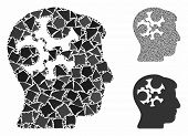 Mind Gears Mosaic Of Tuberous Pieces In Variable Sizes And Color Tinges, Based On Mind Gears Icon. V poster