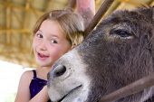 6 Year Old Girl Smiling Next To Donkey In Petting Zoo