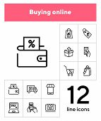 Buying Online Line Icon Set Packet, Online Payment, Mobile App. Shopping Concept. Vector Illustratio poster