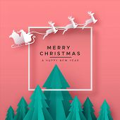Merry Christmas Happy New Year Greeting Card Illustration Of Papercut Holiday Forest Landscape With  poster
