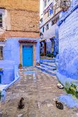 Sightseeing Of Morocco. Beautiful Blue Medina Of Chefchaouen Town In Morocco poster