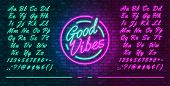 Neon Futuristic Font, Luminous Blue And Pink Uppercase And Lowercase Letters, Colorful Bright Neon H poster
