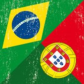 stock photo of carnival brazil  - Brazilian and Portuguese grunge Flag - JPG