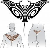 stock photo of manta ray  - Maori styled tattoo pattern in shape of manta ray - JPG