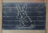 image of dust bunny  - Easter Rabbit sketch on vintage grunge blackboard - JPG