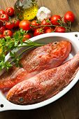 image of redfish  - Redfish with tomatoes parsley garlic and olve oil - JPG