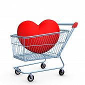 image of brothel  - Blue shopping cart with red heart - JPG