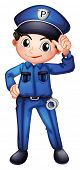 picture of policeman  - Illustration of a policeman with a complete uniform on a white background - JPG