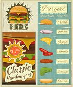 stock photo of burger  - Retro Design of Burgers Menu Big Hamburger with Ingredients and place for Price in Vintage Style - JPG