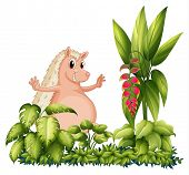 stock photo of bulging belly  - Illustration of a wild animal in the garden on a white background - JPG