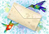 Colorful Hummingbirds With Grunge Envelope
