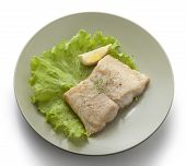 picture of pangasius  - Fried fillet of pangasius with lettuce and lemon on the green plate