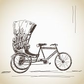 picture of rickshaw  - Sketch of cycle rickshaw - JPG
