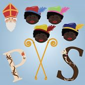 stock photo of scepter  - Set of items of dutch traditional SInterklaas celebration - JPG