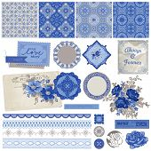 Scrapbook Design Elements - Vintage Porcelain and Flower Set - in vector