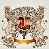 stock photo of queen crown  - Vector heraldic illustration in vintage style with shield armor crown and lions for design - JPG
