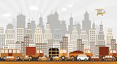 image of suburban city  - vector illustration of traffic jam in the city - JPG