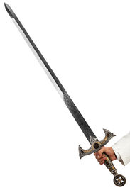 picture of longsword  - a hand holding a long and ornated medieval steel sword - JPG