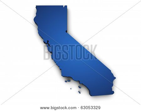 Map Of California 3D Shape poster