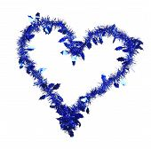 Christmas blue tinsel in form of heart.