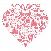 Hearts Composition Of Wedding Design  Icons For Web And Mobile